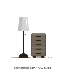 Flat desk and lamp design icon, vector illustration