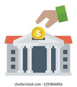 Flat detailed icon of a bank.
