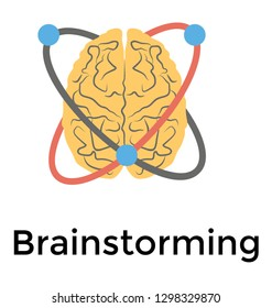 Flat detailed icon of brainstorming