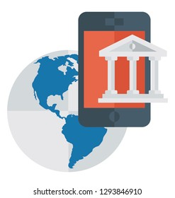 Flat detailed icon of global banking application
