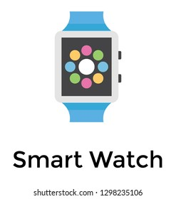 Flat detailed icon of a smartwatch
