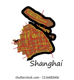 Flat Detailed Shanghai City Road Network Map