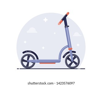 Flat detailed vector illustration of scooter on neutral background.