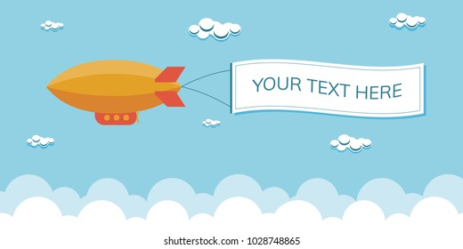Flat dirigible, blimp, zeppelin, airship with message space vector illustration.