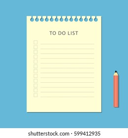 Flat to do list and pencil on blue background. Vector illustration