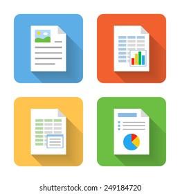 Flat document icons. Vector illustration