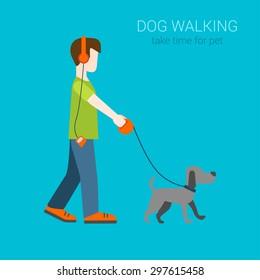 Flat dog walking boy in headphones listening music. Creative people collection.