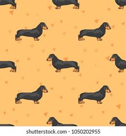 Flat drawing seamless pattern - Cute dogs