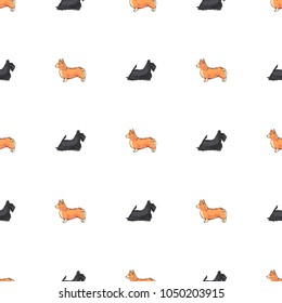 Flat drawing seamless pattern - Cute dogs