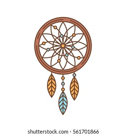 Flat dream catcher thin lined icon. Indian symbol outlined logotype design for business branding and web templates