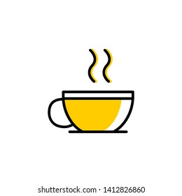 flat drink coffee. yellow illustration
