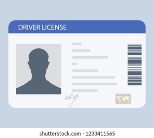 Flat driver license plastic card template. Driver License isolated