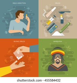 Flat drugs composition with four square icon set on drug addiction buying drugs themes vector illustration