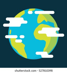 Flat earth with clouds, colorful flat style vector illustration