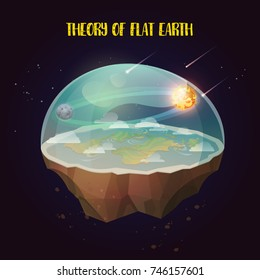 Flat earth with nature landscape, atmosphere with comets, sun and moon. Ancient belief in plane globe in form of disk. Cosmology and pseudoscience, old science and flat-earthers, conspiracy theme