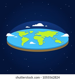 Flat earth in space. Ancient cosmology model and modern pseudoscientific conspiracy theory. Stylized vector illustration.