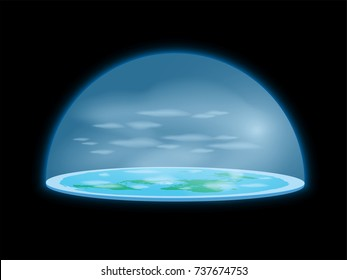 Flat Earth surrounded by Antarctica. Antarctic circle. Planet under clear glass dome. realistic illustration of a flat land. world mystery. Elements of this image furnished by NASA.