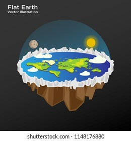 Flat earth theory concept illustration