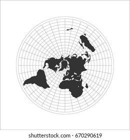 Flat Earth theory map icon. Vector Flat globe movement illustration. Science fiction. Graphic flat world