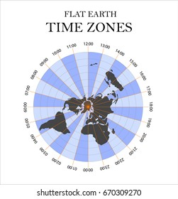 Flat Earth time zones. Vector illustration