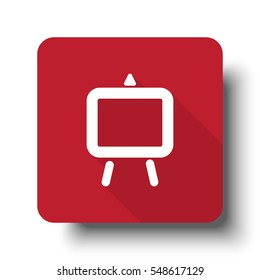 Flat Easel web icon on red button with drop shadow