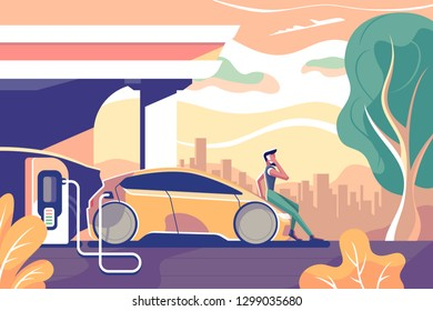 Flat eco electric car gas station with man with cellphone. Concept character with mobilephone, driver person sits on hood. Vector illustration.