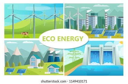 Flat eco energy concept with windmills solar panels ecological factory and houses hydroelectric station vector illustration