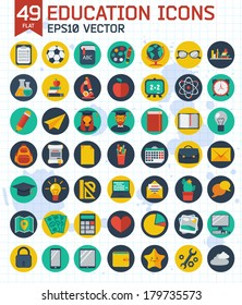 Flat education and business icons set