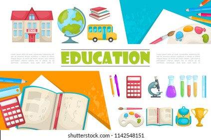 Flat education elements composition with school building bus books calculator chemical tubes pen pencil microscope painting palette bag cup vector illustration