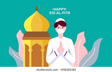 Flat eid al-fitr with face mask illustration