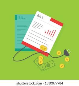 Flat Electric Bill vector Illustration