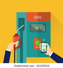 Flat  element on gasoline with modern gas station pump isolated. Mobile payment concept . NFC technology. Vector flat illustration.