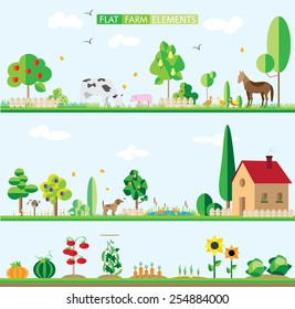 flat elements of the farm. background, vector