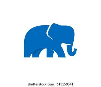 Flat elephant blue vector