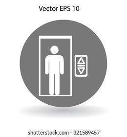 Flat elevator icon. Vector