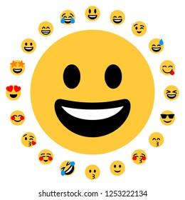 Flat Emoji Set. 20 smileys. Face positive emojis.