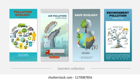 Flat environment pollution vertical banners with industrial factory truck protective suit oil barrel clean and dirty planet tree of ecological problems vector illustration
