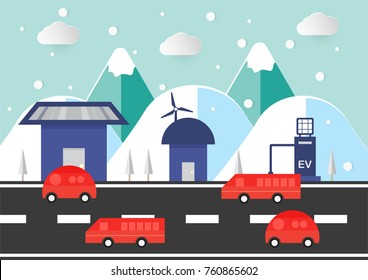 Flat environmental scene with mountain, house, car and road in winter season. Scene of cold nature. Renew Energy on home include solar panel and wind turbine.