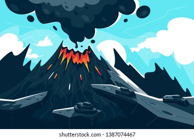 Flat erupting volcano with red flame and smoke. Concept natural phenomenon, disaster in mountain. Vector illustration.