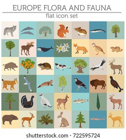 Flat European flora and fauna map constructor elements. Animals, birds and sea life isolated on white big set. Build your own geography infographics collection. Vector illustration