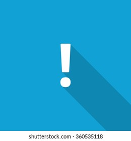 Flat Exclamation Mark icon with long shadow on blue backround