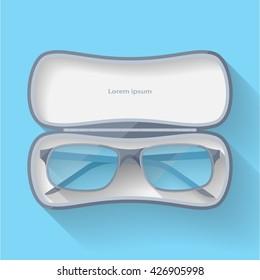 flat eyeglasses in case
