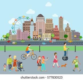 Flat Families walking near road vector illustration. Urban skyscraper landscape. Real Estate concept.