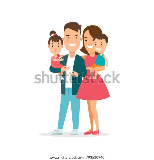 Flat Family Children Vector Characters Illustration Stock