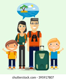 Flat Family of  Young Travelers dreaming about sunny beach. Colorful Vector Illustration