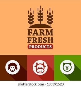 Flat Farm fresh labels. Organic Farming vector sign set.