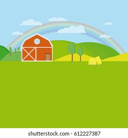Flat Farm With Trees, Meadow, Sky And Clouds With Rainbow