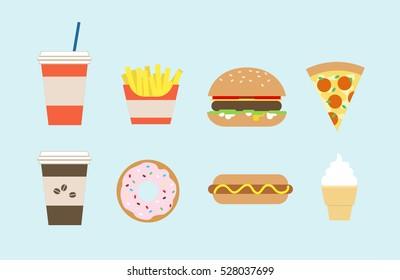 Flat fast food colorful illustrations