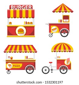 Flat Fast food kiosk collection, Vector Street food stand collection