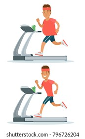 Flat fat man weight loss modern infographics vector concept. Male guy running on treadmill before after set. Healthy lifestyle exercise sport cardio training. Body transformation
